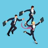 Działający biznesmeni na błękitnym tle royalty ilustracja