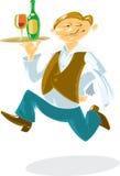 działający kelner Ilustracji