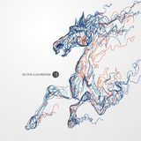 Działający koń, barwiony linia rysunek, ilustracja ilustracja wektor