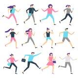 Działający ludzie Mężczyzna, bieg i jogging trening kobiety, i sportowego sporta biegacze Sporty ćwiczy odosobnionego płaskiego w royalty ilustracja