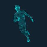 Działający Mężczyzna Poligonalny projekt 3D model mężczyzna geometryczny wzór Biznes, nauka i technika wektoru ilustracja Ilustracji