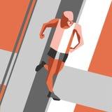 Działający Mężczyzna Wektorowa ilustracja geometrical styl Barwi plakat, druk lub sztandar dla maratonu sporta, Obraz Royalty Free