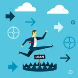 Działający pierwszy plan Biznesmena bieg unikać pułapka giganta pożyczka Pojęcie biznesu ilustracja royalty ilustracja