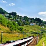 Działający pociąg w Lavaux winnicy Tarasuje wycieczkujący ślad w szwajcarze Zdjęcie Stock