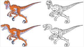 Działający Velociraptor kreskówki maskotki set fotografia stock
