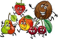 Działających owoc kreskówki grupowa ilustracja Fotografia Stock