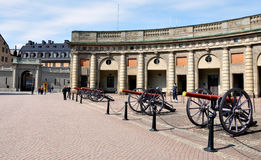 Działo i pałac w Sztokholm, Szwecja, Europa Zdjęcia Stock