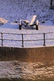 działo zakrywająca śnieżna zima Zdjęcia Royalty Free