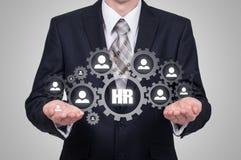 Działu zasobów ludzkich biznesu pojęcie Biznesmen naciska hr ikonę na wirtualnym ekranie Obraz Stock