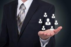 Działu zasobów ludzkich biznesu pojęcie Biznesmen naciska hr ikonę na wirtualnym ekranie Fotografia Stock