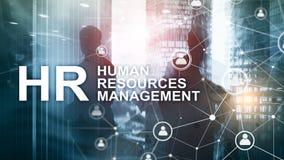 Działu zasobów ludzkich zarządzanie, HR, Drużynowy budynek i rekrutaci pojęcie na zamazanym tle, zdjęcia royalty free
