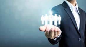Działy zasobów ludzkich, CRM i rekrutacyjny biznesowy pojęcie, Odbitkowy spac Zdjęcie Royalty Free