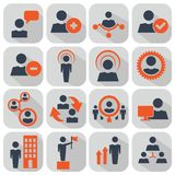 Działy zasobów ludzkich i zarządzanie ikony ustawiać zdjęcia stock