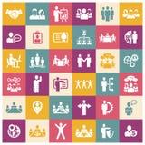 Działy zasobów ludzkich i zarządzanie ikony ustawiać Zdjęcie Stock