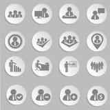 Działy zasobów ludzkich i zarządzanie ikony ustawiać. fotografia stock