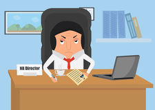 Działu zasobów ludzkich kierownik siedzi przy biurkiem w biurze Biznesmen przy biurkiem w biurze Ilustracja Wektor