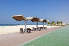 Działająca linia na plaży w Dubaj Obraz Stock