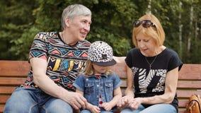 Dziad i babcia wydaje czas z ich wnuczką na parkowej ławce zbiory wideo