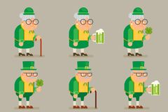 Dziadek babcia starego człowieka Żeńskiego charakteru koniczyny zieleni Chodzącego kija Męskiej Piwnej kreskówki projekta Płaski  Zdjęcie Royalty Free
