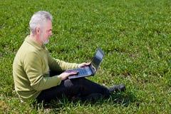 dziadek laptop Zdjęcie Royalty Free