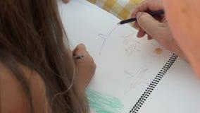 Dziadek rysunek z wnuczką zbiory
