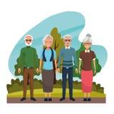 Dziadkowie dobierają się ono uśmiecha się w natury kreskówce ilustracja wektor