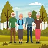 Dziadkowie dobierają się ono uśmiecha się w natury kreskówce royalty ilustracja