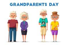 dziadkowie szczęśliwi chłopiec kreskówka zawodzący ilustracyjny mały wektor Dziadka dzień Zdjęcie Royalty Free