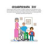 Dziadkowie Z wnuka dziadu I babci dnia kartka z pozdrowieniami Szczęśliwym sztandarem Fotografia Stock