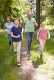 Dziadkowie Z wnukami Biega Przez wsi Obrazy Royalty Free