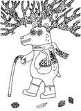 Dziadu niedźwiedź zbiera jagody w lasowej wektorowej ilustraci Zdjęcie Stock