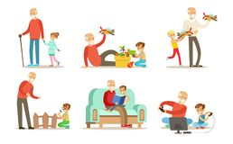 Dziadunio wydaje czas z wnuka setem dziady bawić się, książki i mieć zabawa z ich, chodzi, czytelnicze, ilustracja wektor