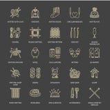 Dziający, szydełkuje, ręcznie robiony kreskowe ikony ustawiać Dziewiarska igła, haczyk, szalik, skarpety, wzór, wełien skeins i i ilustracja wektor