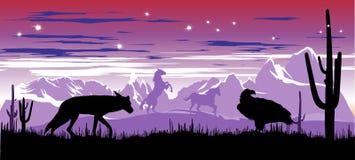 Dzicy konie i kojot w stepach Argentyna Obrazy Royalty Free