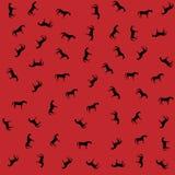 Dzicy konie na czerwonym tle Zdjęcie Royalty Free