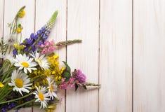 Dzicy kwiaty na starego grunge tła chamomile lupine drewnianym d Zdjęcie Royalty Free