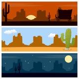 Dzicy zachód pustyni sztandary Zdjęcia Royalty Free