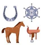 Dzicy zachodni elementy ustawiają ikony rodeo kowbojskiego wyposażenie i różną akcesoria wektoru ilustrację Zdjęcie Stock
