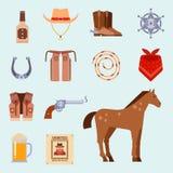 Dzicy zachodni elementy ustawiają ikony rodeo kowbojskiego wyposażenie i różną akcesoria wektoru ilustrację Obrazy Stock