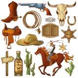 Dzicy Zachodni elementy Ustawiający royalty ilustracja