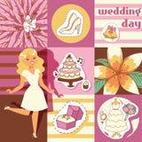 Dzień ślubu tła wektoru ilustracja Kreskówki przejażdżki rozochocona kobieta czekać na przyjęcia Biel buty i suknia pierścionek royalty ilustracja