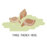 12 dzień boże narodzenia - trzy francuskiej karmazynki Zdjęcia Stock
