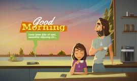 Dzień dobry, napój kawa z rodziną ilustracja wektor