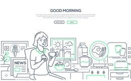 Dzień dobry - nowożytny kreskowy projekta stylu sieci sztandar ilustracja wektor
