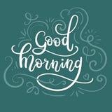 Dzień Dobry ręki literowanie Nowożytny kaligrafii kartka z pozdrowieniami ilustracji
