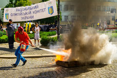 Dzień Fizyczna kultura i sporty w Uzhgorod zdjęcia stock
