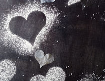 dzień karciany valentine s Konturów serca śnieżni Fotografia Royalty Free