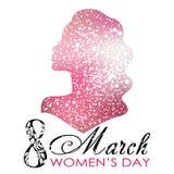 dzień kobiety s Wektorowy kartka z pozdrowieniami z kobiety sylwetką 8th Marzec Obraz Stock
