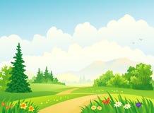 dzień lasu krajobraz pogodny royalty ilustracja