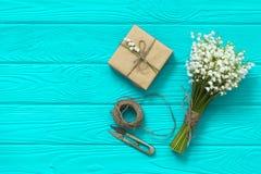 dzień macierzysty s dzień kobiety s Walentynka dzień, Urodzinowy powitania pojęcia tło Odgórny widok, mieszkanie nieatutowy, mock zdjęcie stock